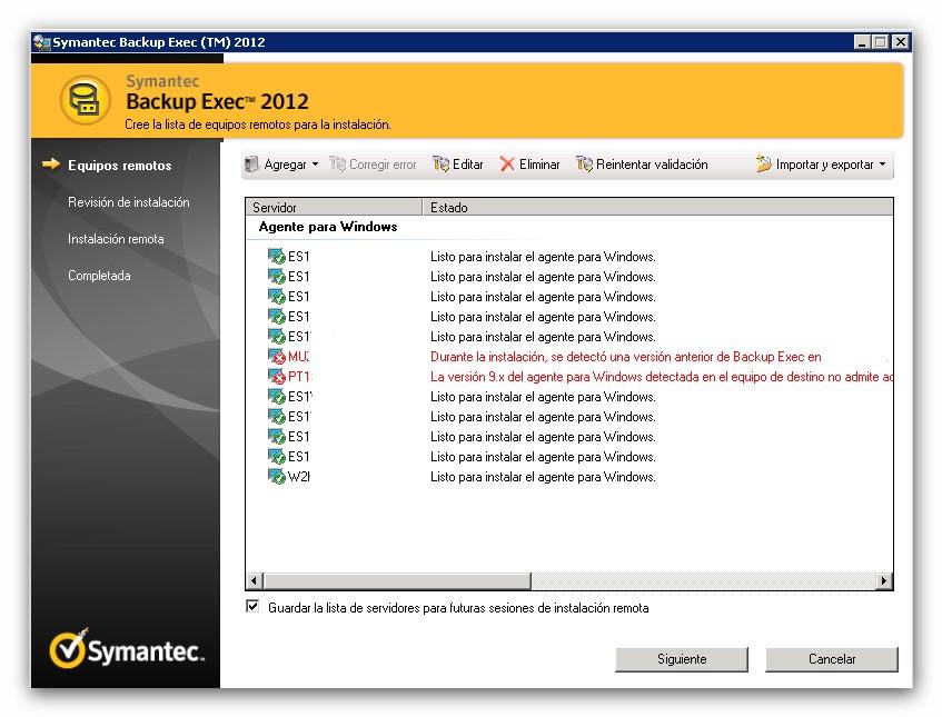 Despliegue de agentes Remote Agent con Symantec Backup Exec 2012 V-Ray
