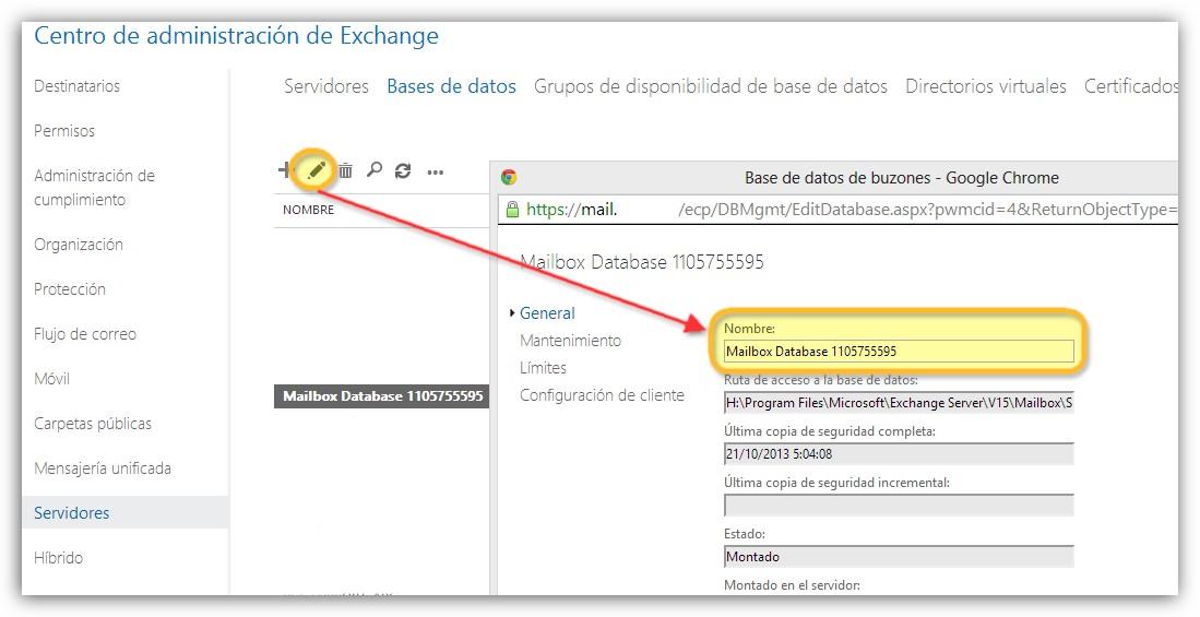 Mover las bases de datos de sistema en Microsoft Exchange 2013