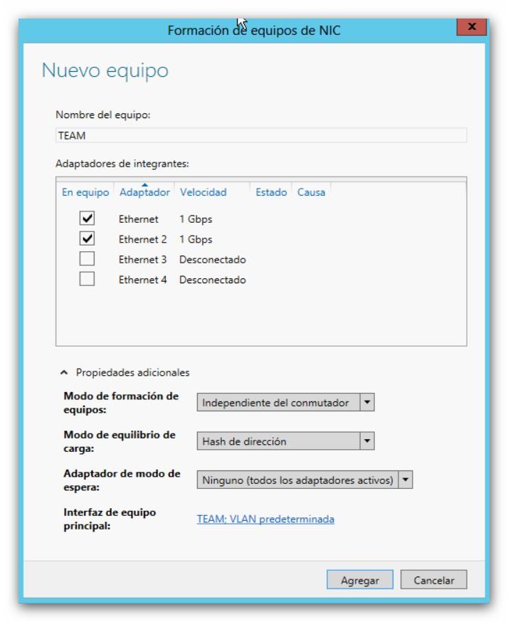 NIC Teaming en Microsoft Windows 2012