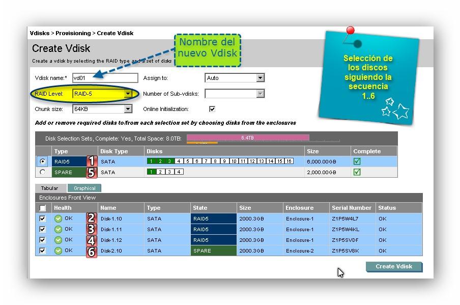Creación de Vdisks y volúmenes en una MSA2312FC de HP
