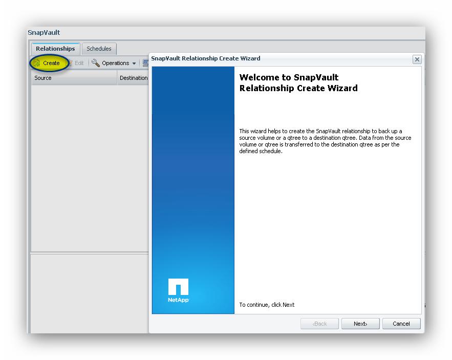 Configurar una SnapVault Relationship entre dos cabinas NetApp