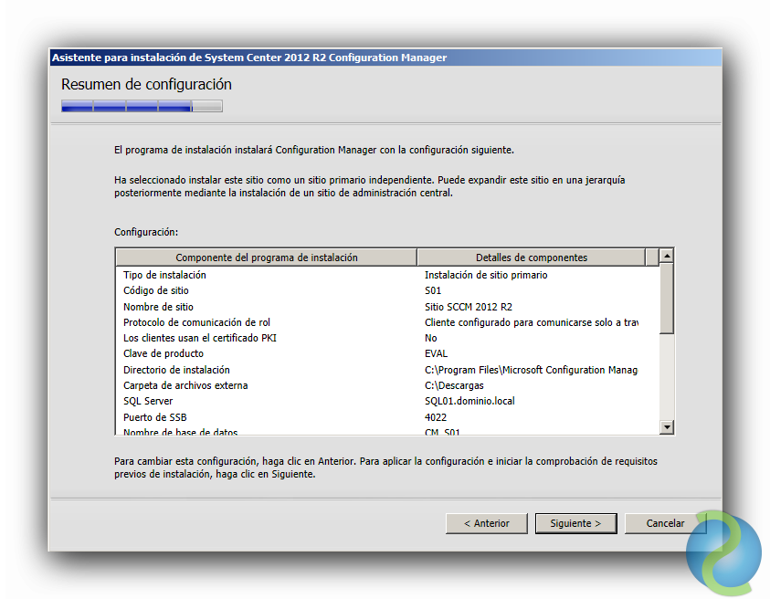 Instalación de System Center Configuration Manager 2012