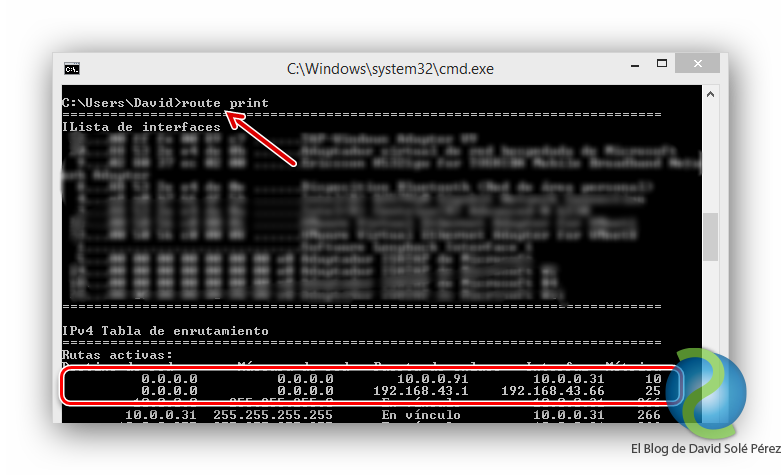 Uso de metricas con mas de una puerta de enlace en Windows